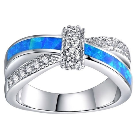 Rhodium Plated and Blue Opal Crisscross Ring