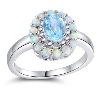 18K White Gold Plated Diamond Fire White Opal Blue Topaz Flower Ring