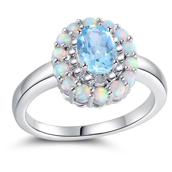 Size 9 Amethyst /&blue Engagement Ring yellow Rhodium Plated Wedding Band