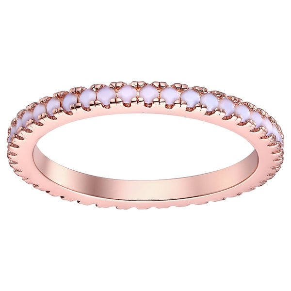Rose Gold Plated and 1ct White Opal Band. Opens flyout.
