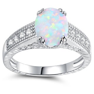 Rhodium Plated and White Fire Opal Engagement Ring (More options available)