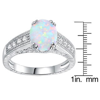 Peermont Jewelry Rhodium Plated and 2ct White Fire Opal Engagement Ring
