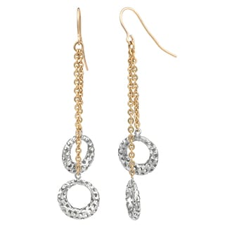 "Fremada 14k Two-tone Gold Cutout Circles Dangle Earrings, 2.1"""