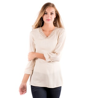 DownEast Basics Women's Firewood Beige Rayon Blouse