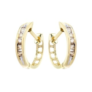 10k Yellow Gold 1/6ct TDW Classic Hoop Diamond Earrings