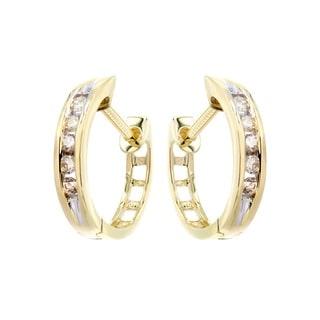 10k Yellow Gold 1/6ct TDW Classic Hoop Diamond Earrings (H-I, I1-I2)