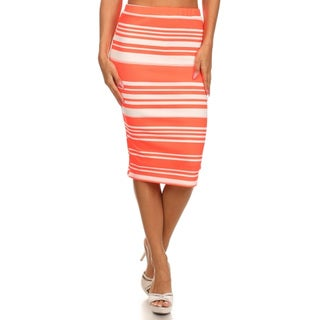 MOA Collection Women's Polyester Blend Striped Pencil Skirt