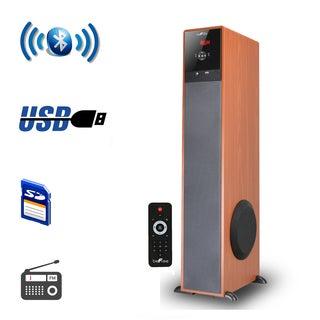 beFree Sound Bluetooth Powered Tower Speaker - Wood
