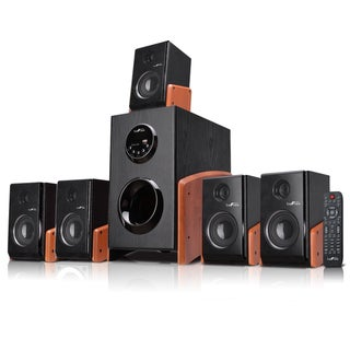 beFree Sound 5.1 Channel Surround Sound Bluetooth Speaker System -Wood