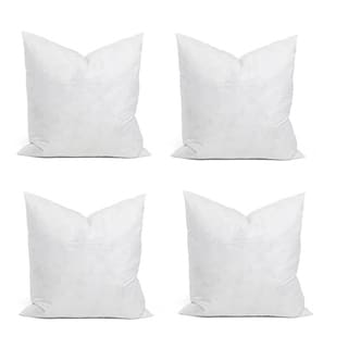 White Chenille Fabric Feather-filled Cushion Set (Pack of 4)