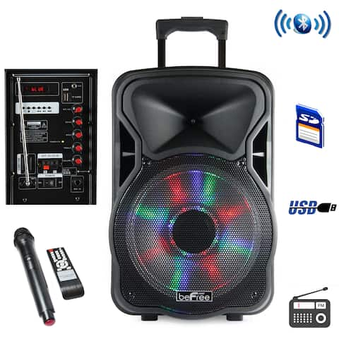 beFree Sound 15 Inch Bluetooth Rechargeable Party Speaker With Illuminatiing Lights