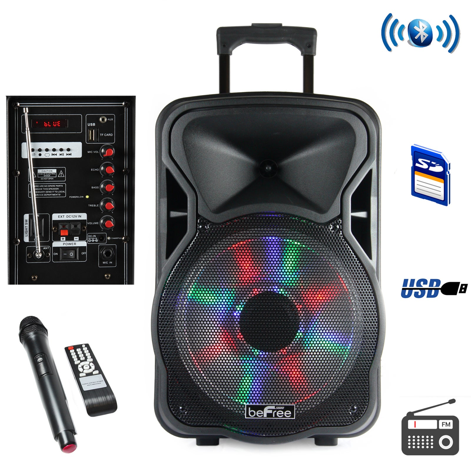 6-Inch Portable Rechargeable Bluetooth Party Speaker with App Control