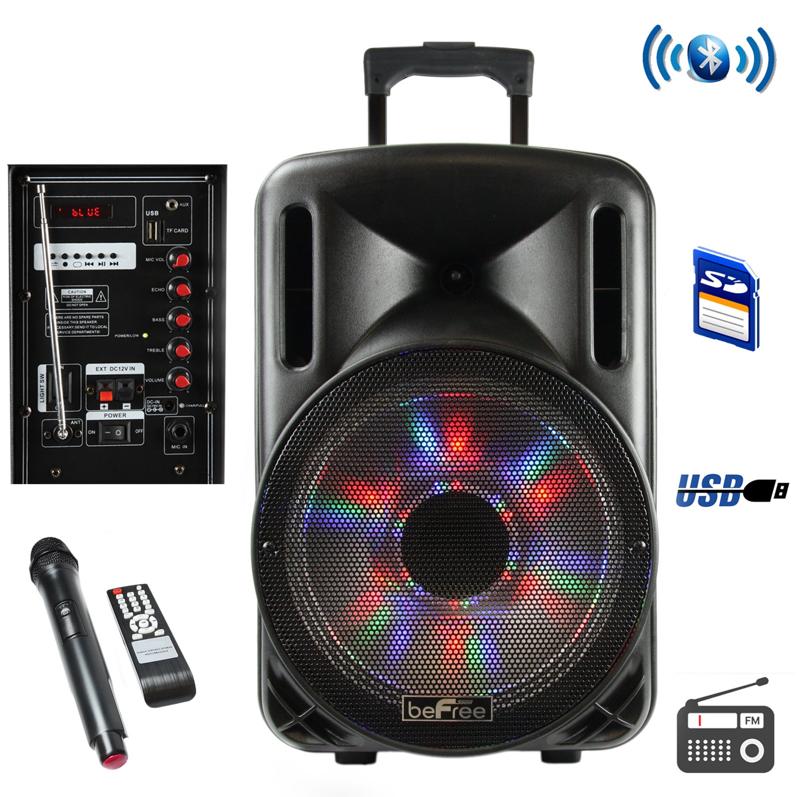 beFree Sound 12 Inch Bluetooth Rechargeable Party Speaker...