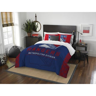 The Northwest Company NHL New York Rangers Draft Blue and Red Full/Queen 3-piece Comforter Set