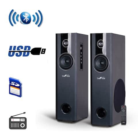 beFree Sound 2.1 Channel Bluetooth Powered Black Tower Speakers