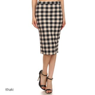 MOA Collection Women's Black and White Polyester and Spandex Checkered Skirt