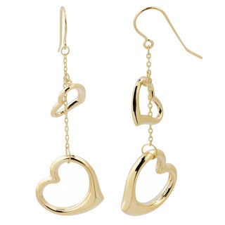 Fremada 14k Yellow Gold Big and Small Heart Dangle Earrings, 2.15""