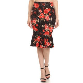 MOA Collection Women's Multicolored Polyester and Spandex Floral Mermaid Skirt