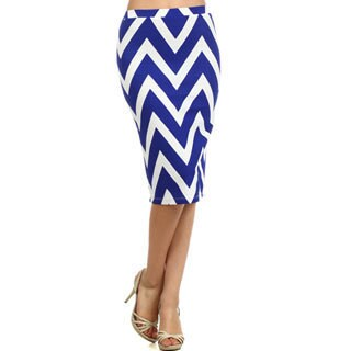 MOA Collection Women's Multicolored Polyester/Spandex Chevron Striped Skirt