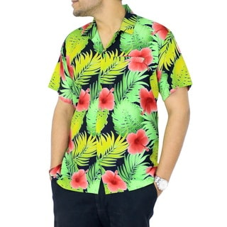 La Leela Men's Silk Floral Button-down Relaxed Fit Hawaiian Shirt