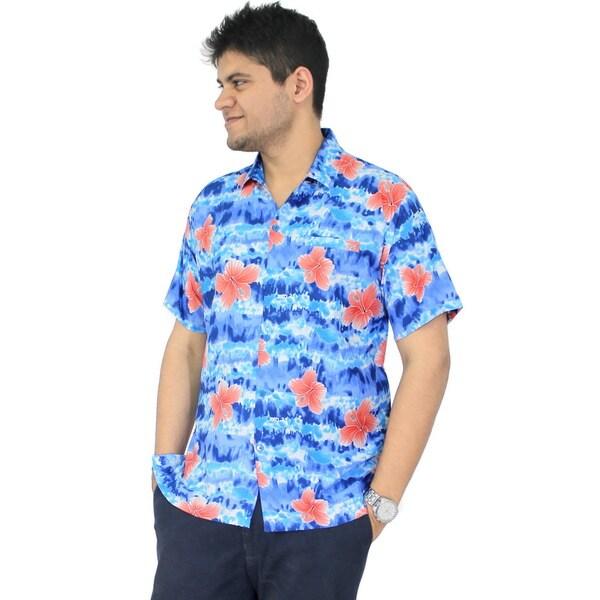 7da26537 La Leela Men's Aloha Blue Floral Tie Dye Hawaiian Beach Casual Button