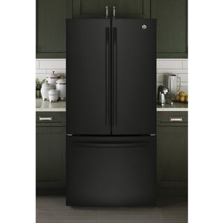 GE Series Energy Star 24.8 cu.ft. French Door Black Refrigerator