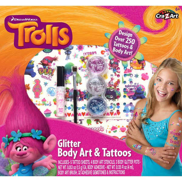 Cra-Z-Art Trolls Glitter Body Art and Tattoos Kit