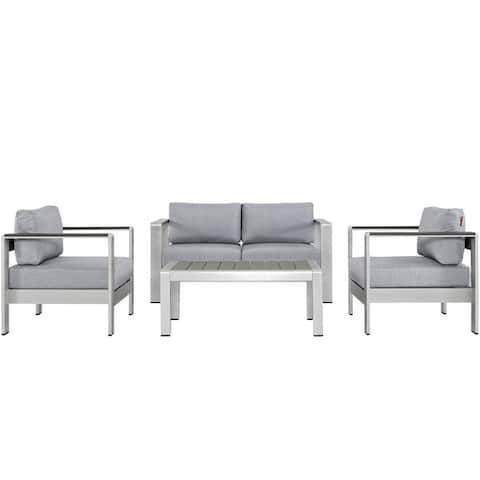 Shore 4-piece Outdoor Patio Aluminum Sectional Sofa Set