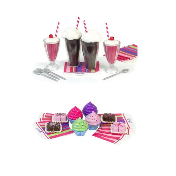 Sophia's KTDOLL992324 18-inch Doll Play Food Cupcakes, Petit Fours, Napkins, and 12-piece Soda Fountain Set