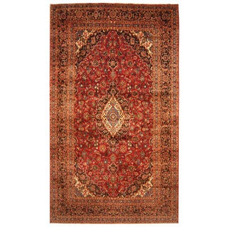 Herat Oriental Persian Hand-knotted Kashan Wool Runner (9'6 x 16'2)