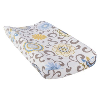Trend Lab Waverly Baby Pom Pom Spa Blue Cotton Changing Pad Cover