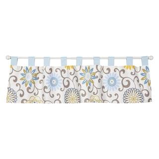 Trend Lab Waverly Baby Pom Pom Blue Cotton Spa Window Curtain Valance