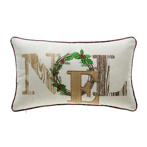 Noel Embroidery Lumbar Throw Pillow