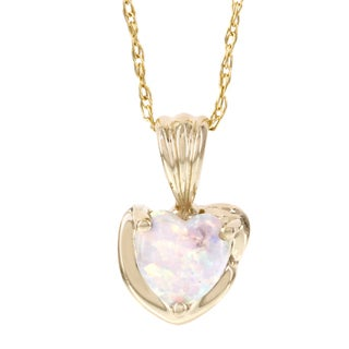 H Star 10k Yellow Gold Created Opal Heart Shaped Pendant
