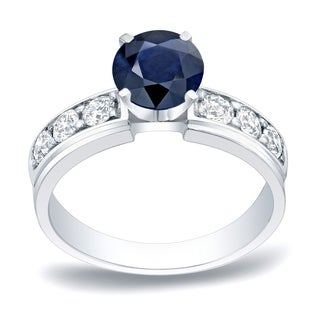 Auriya Platinum 1/2ct Blue Sapphire and 1/2ct TDW Diamond Engagement Ring (H-I, SI1-SI2)