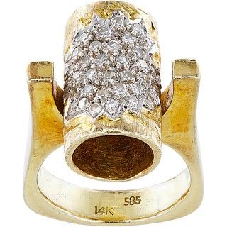 14k Yellow Gold 3/5ct TDW White Diamond Tube Estate Ring Size 6 (I-J, SI1-SI2)