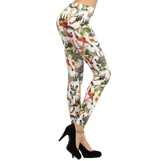 Stella Elyse Women's Psychedelic Multicolor Cotton/Viscose/Spandex Zebra-printed Leggings