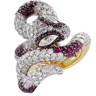 18k Yellow Gold 4 1/2ct TDW Diamonds and Rubies Snake Estate Ring Size 6 (G-H, SI1-SI2)