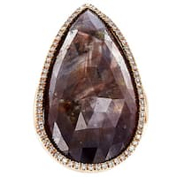 14k Rose Gold Brown Morion and 3/4ct TDW Diamond Estate Ring (H-I, SI1-SI2)