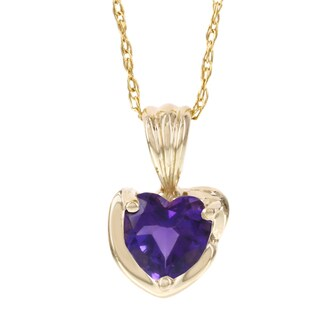 H Star 10k Yellow Gold Amethyst Heart Shaped Pendant