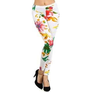 HoneyComfy Women's Stella Elyse Multicolor Floral Bouquet Printed Leggings