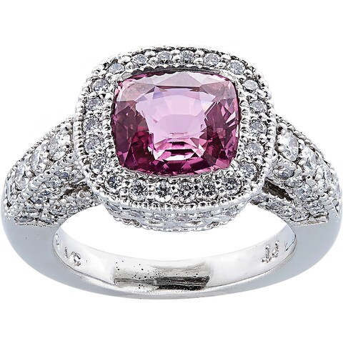 Platinum 2ct TDW Diamonds and Pink Sapphire Halo Ring (H-I, VS1-VS2)