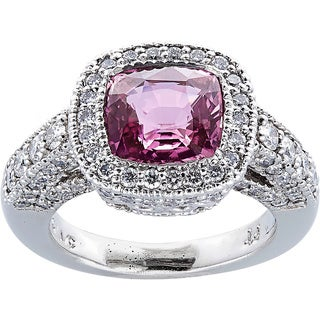 Platinum 2ct TDW Diamonds and Pink Sapphire Halo Ring (H-I, VS1-VS2)