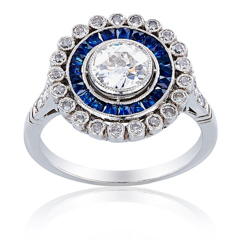 Platinum 1 1/3ct TDW Sapphire and Diamond Center Ballerina Ring (H-I, SI1-SI2)