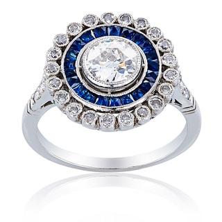 Platinum 1 1/3ct TDW Sapphire and Diamond Center Ballerina Ring (H-I, SI1-SI2)
