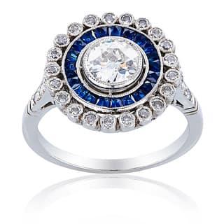 1f03068b6 Platinum 1 1/3ct TDW Sapphire and Diamond Center Ballerina Ring (H-I, SI1