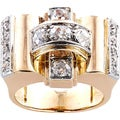 Size 5.75 18K Yellow Gold 1 1/4ct TDW 1940's French Estate Deco Ring (H-I, SI1-SI2)