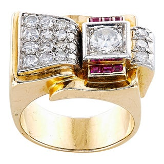 18K Yellow Gold 1 1/4ct TDW Diamonds and Rubies French Estate Deco Ring (G-H, VS1-VS2)