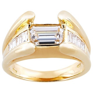 18k Yellow Gold 1 3/4ct TDW Towering Prongs Diamond Band Estate Ring (G-H, VS1-VS2)