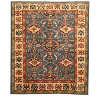Herat Oriental Afghan Hand-knotted Tribal Kazak Wool Rug (6'4 x 7'5)